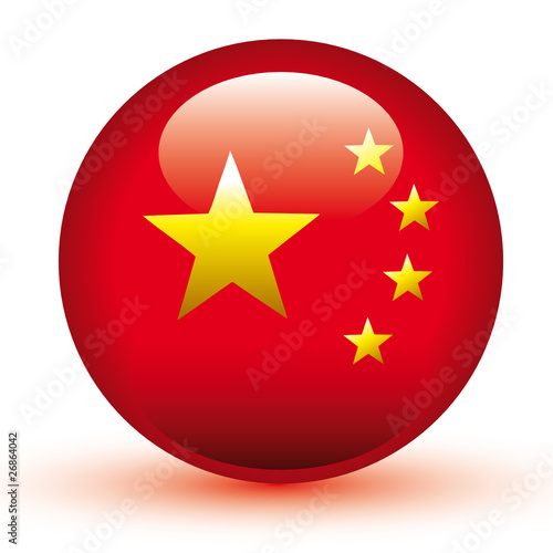 Chinese Flag Ball Vector 3D