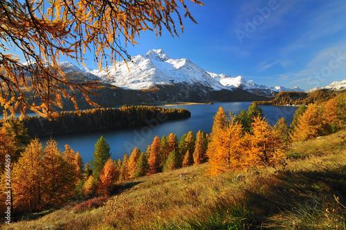 Sils im Engadin na piękny dzień jesieni