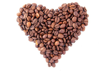 Heart coffee beans, isolated on white