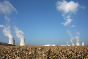 view of nuclear power plant over the horizon