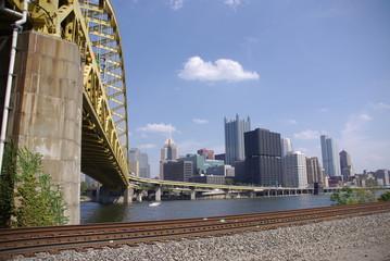 Pittsburg Skyline with Fort Pitt Bridge in Foreground