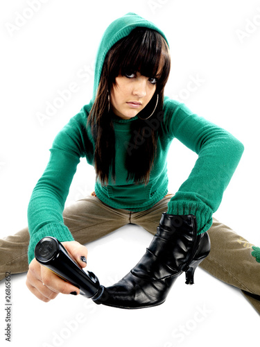 Teenager Polishing Boot. Model Released