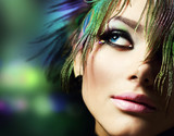 Beautiful Fashion Woman Face.Perfect Makeup - Fine Art prints
