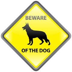 """BEWARE OF THE DOG"" Sign (danger warning guard German Shepherd)"