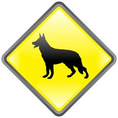 """BEWARE OF THE DOG"" Sign (warning danger guard German Shepherd)"