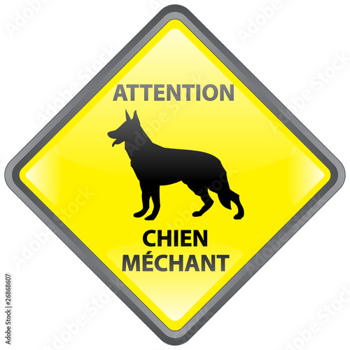Panneau ATTENTION CHIEN MECHANT (Berger Allemand Danger de garde