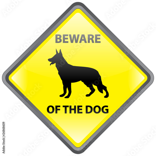 """BEWARE OF THE DOG"" Sign (danger warning guard German Shepherd)"