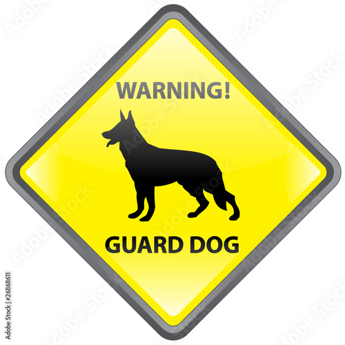 """WARNING! GUARD DOG"" Sign (beware of the dog German Shepherd)"