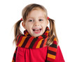 cute little girl in a striped scarf