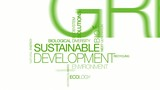 Sustainable development bio ecology tag cloud animation poster