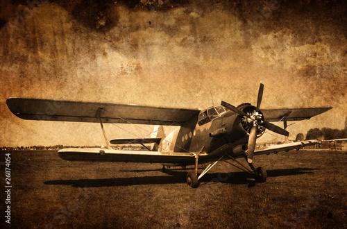 Zdjęcia na płótnie, fototapety na wymiar, obrazy na ścianę : stary samolot - dwupłatowiec