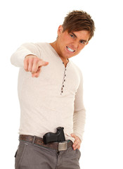 angry, furious young man with gun pointing
