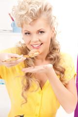 lovely woman eating sushi