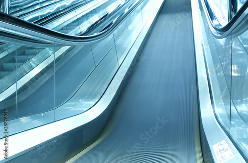 grey moving escalator