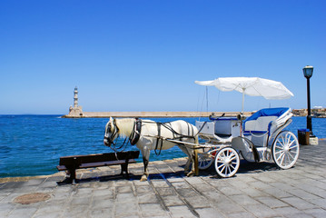Traditional greek horse car in Chania city