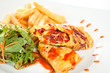 Tempting crepes with salad and fries