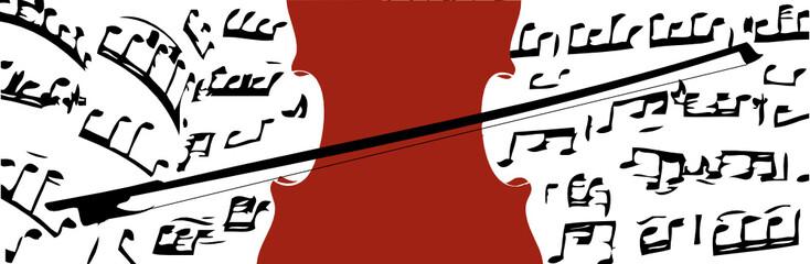 Geige und Musiknoten