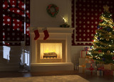 Cozy fireplace decorated for christmas with santa silhouette poster