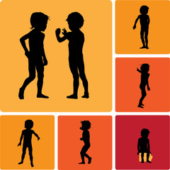 boys silhouettes set vector