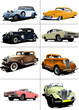 Seventy years old  rarity cars. Vector illustration