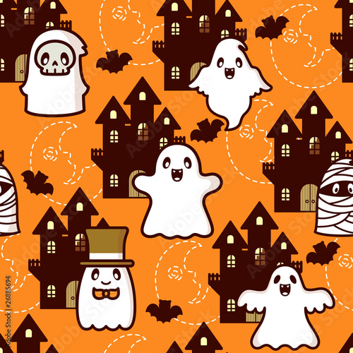 Cotton fabric Halloween Castle Ghost