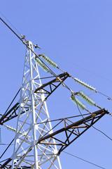 A high voltage powerline under construction