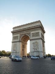 Triumphal arch with street tourism Napoleon Bonaparte at Paris