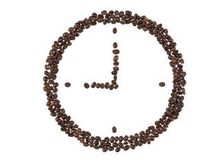 forma di orologio fatta con i chicchi di caffe