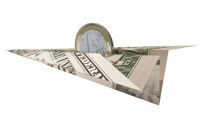 eurocoin flying on a dollar plane