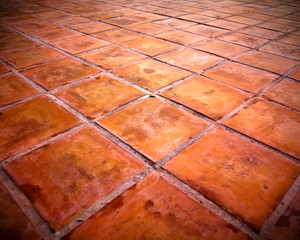 Square red tiles floor