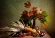 Herbstliches Stilleben mit Mais und Nüssen