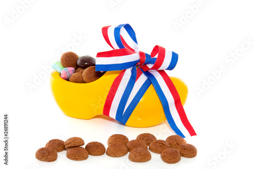 gingernuts and candy in decorated clog for Dutch sinterklaas cel
