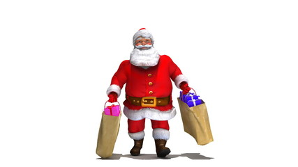 Santa Walks with 2 bags of presents. Comes with Alpha