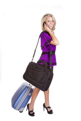 Purple suitcase phone bag