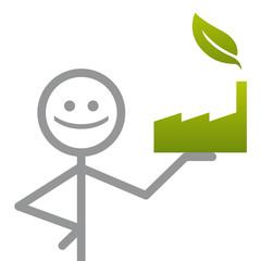 bonhomme avec entreprise écologique