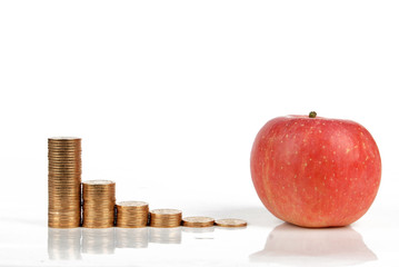Apple and coins on white background