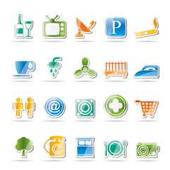 Hotel and Motel objects icons - vector icon set