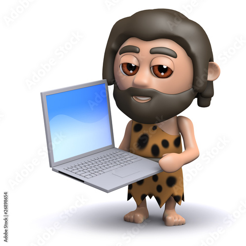 3d Caveman has a new laptop