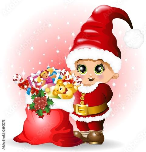 Fotobehang Feeën en elfen Babbo Natale Bambino con Regali-Baby Santa Claus and Toys-Vector