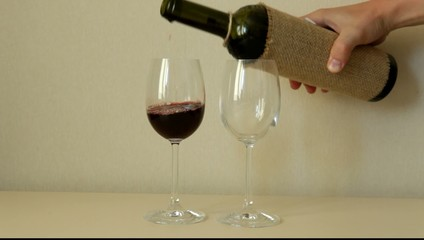 Pour the wine and drink