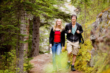 Camping  Hiking Man and Woman