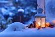 Leinwanddruck Bild - Winter Laterne