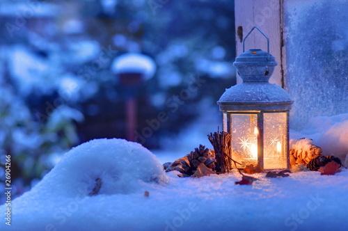 Leinwanddruck Bild Winter Laterne