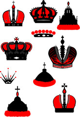 set of black and red crowns