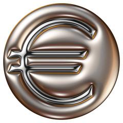 Euro d'argent dans moule d'or