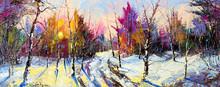 "Постер, картина, фотообои ""Sunset in winter wood"""