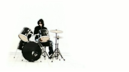 Black and white man drums animation