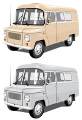 Vector isolated mini bus cargo and passengers