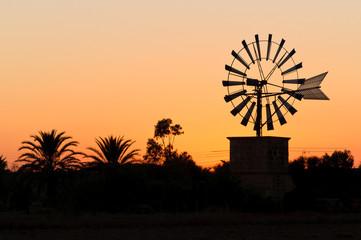 Windrad bei Sonnenuntergang, Mallorca, Spanien