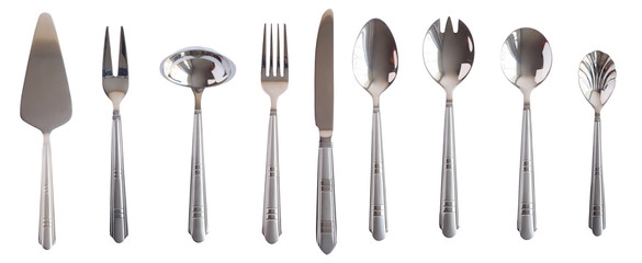 silver kitchen table set spoon fork knife isolated